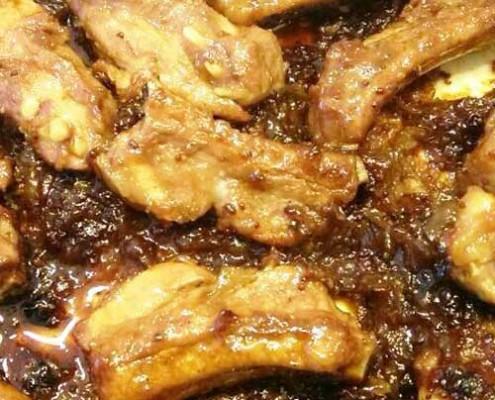 Costelles de porc a la mel